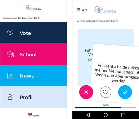 Screenshot der App «votenow»